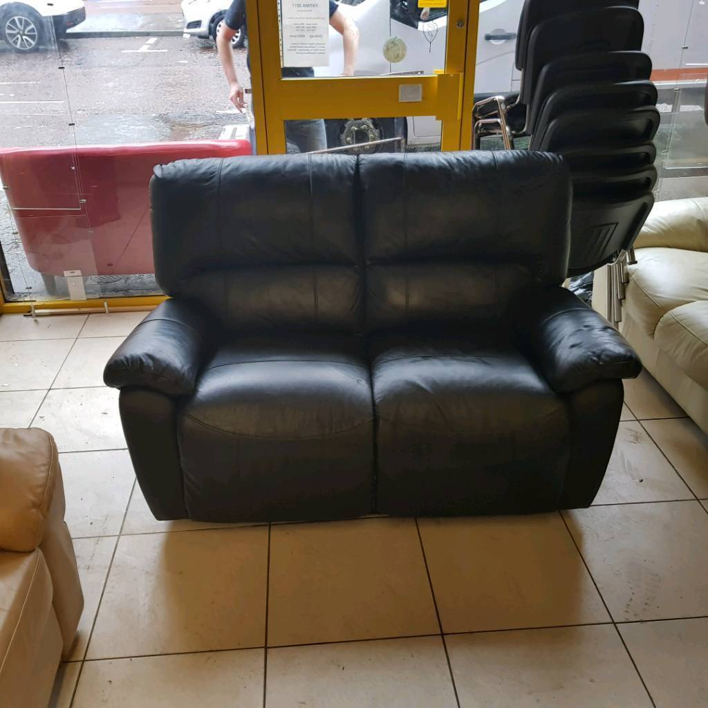 2 Seater Sofa In Black Leather All Reclining