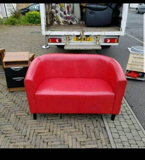 2 Seater Sofa In Red Leather Whelans Quality Used Furniture